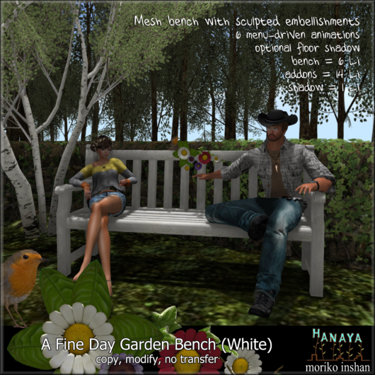 -Hanaya- A Fine Day Garden Bench (White)