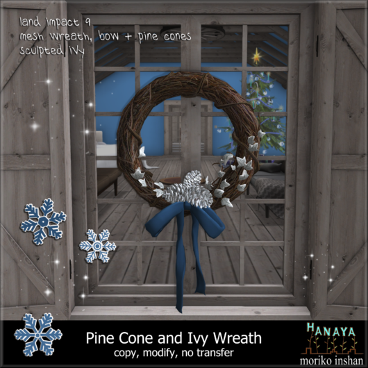 -Hanaya- Pine Cone and Ivy Wreath