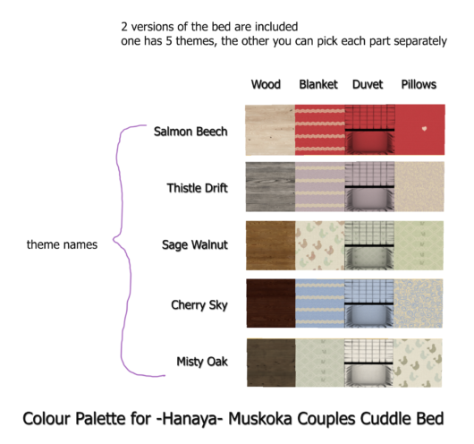 -Hanaya- Muskoka Couples Cuddle Bed Colour Palette