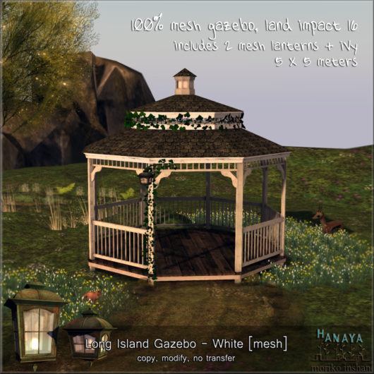 -Hanaya- Long Island Gazebo - White