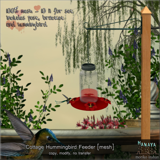 -Hanaya- Cottage Humming Bird Feeder [mesh]