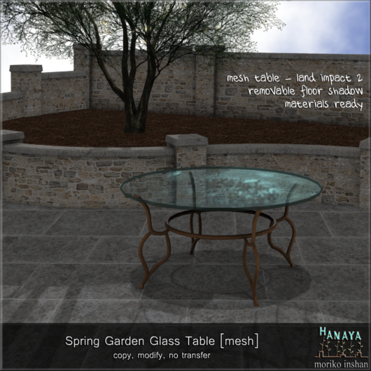 -Hanaya- Spring Garden Glass Table