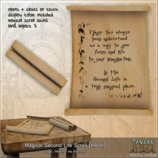 -Hanaya- Magical Second Life Scroll [mesh]